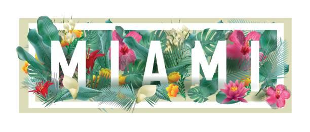 vector floral framed typographic MIAMI city artwork vector floral framed typographic MIAMI city artwork miami stock illustrations