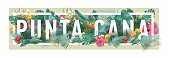 vector floral framed typographic PUNTA CANA city artwork