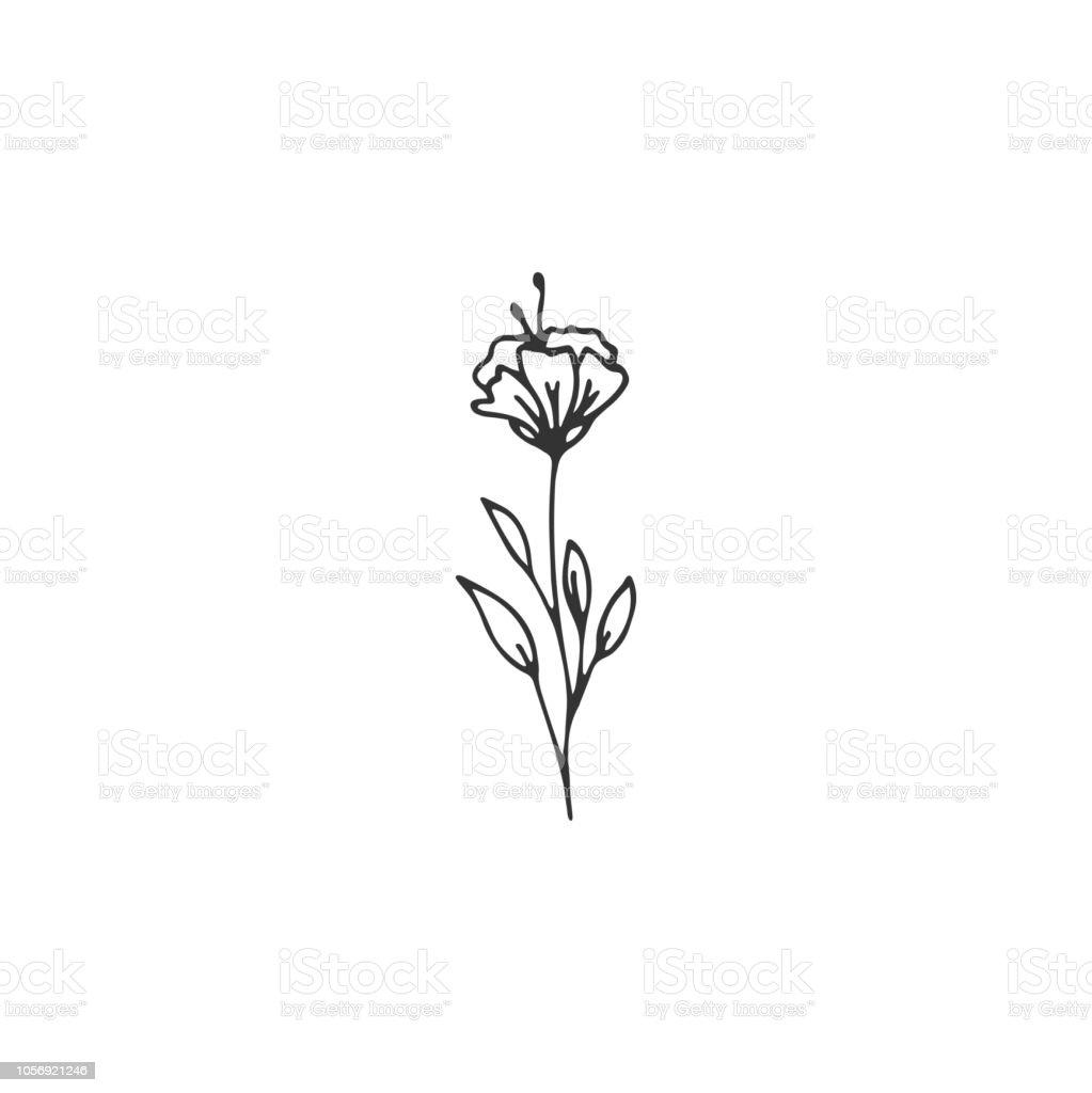 Minimalist Hand Drawn Floral Logo: Vector Floral Hand Drawn Element In Elegant And Minimal