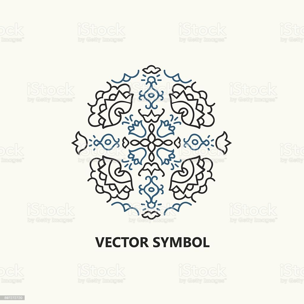 Vector floral icon and design symbol in outline style. vector floral icon and design symbol in outline style – cliparts vectoriels et plus d'images de abstrait libre de droits