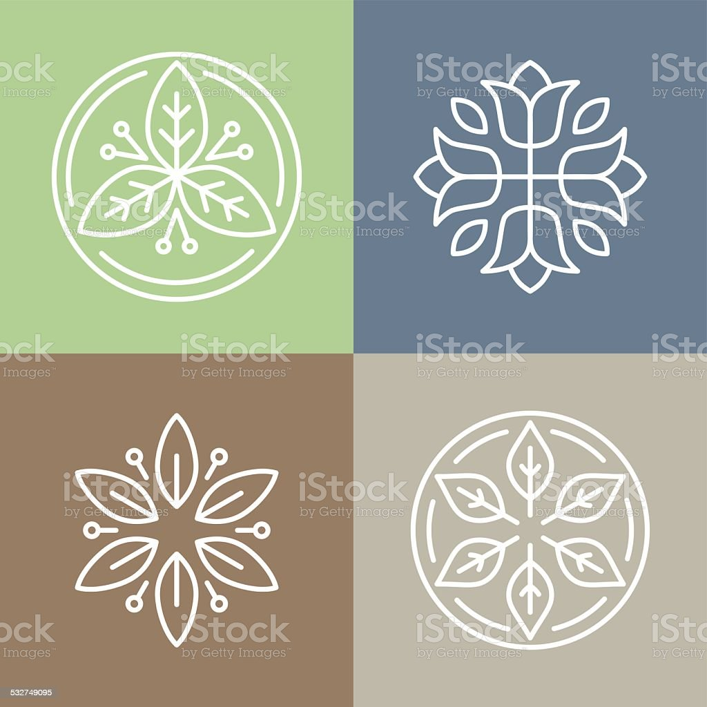 Vector floral icons and logos vector art illustration