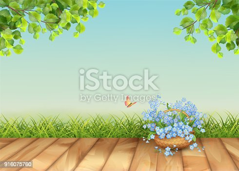 Vector floral landscape with grass and beautiful bouquet in wicker basket