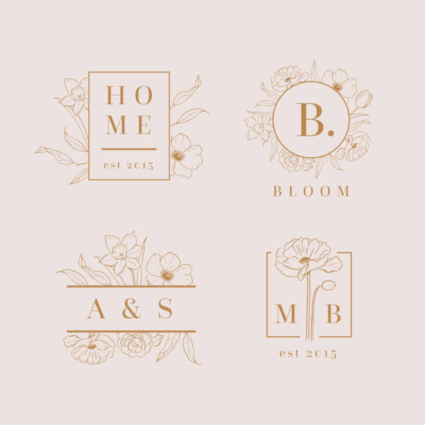 vektor-floral-logo-entwürfe-set - beauty stock-grafiken, -clipart, -cartoons und -symbole