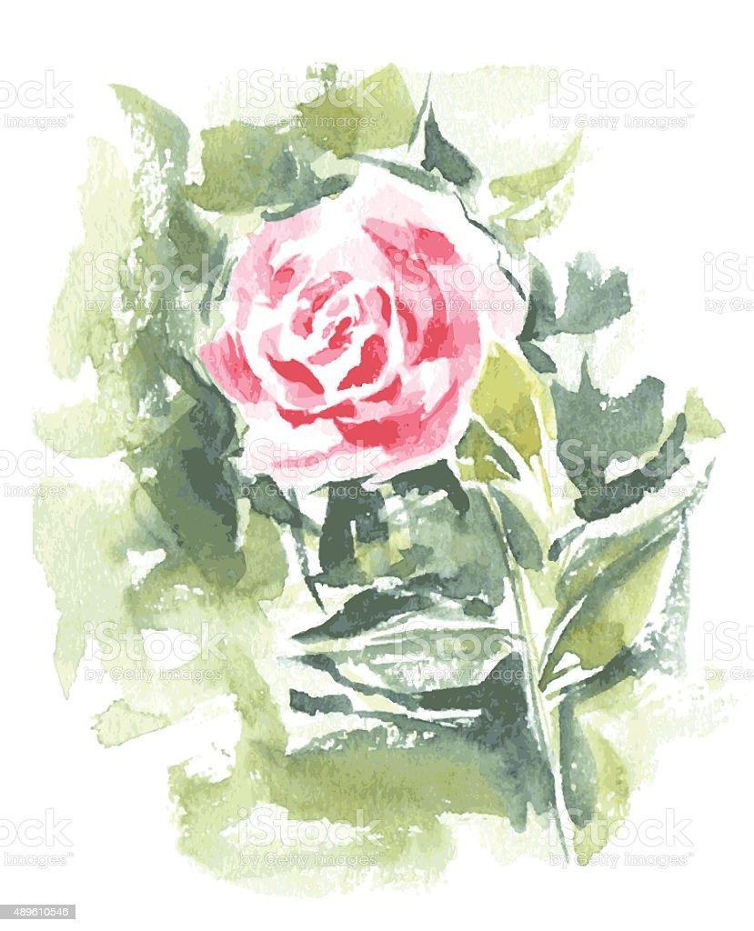 Ilustración de Vector Flores Rosas Rojas De Pintura De Acuarela y ...