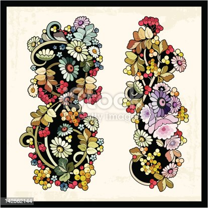 Vector Floral Ornaments In Eastern Vintage Style Stock Vector Art & More Images of Art 142562144