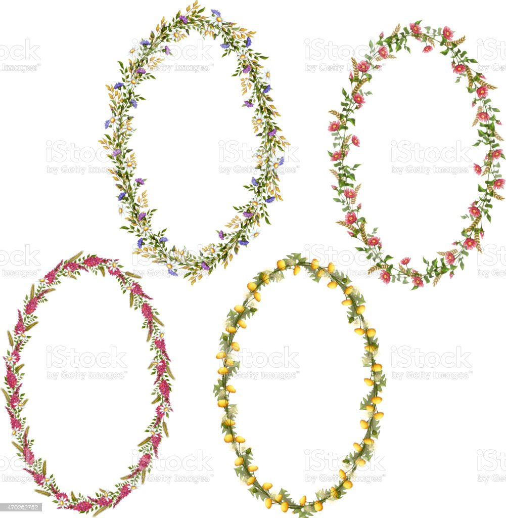 vector floral oval frames for your design stock vector art more