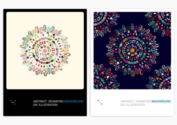 ilustrações de stock, clip art, desenhos animados e ícones de vector floral pattern backgrounds - mosaicos flores