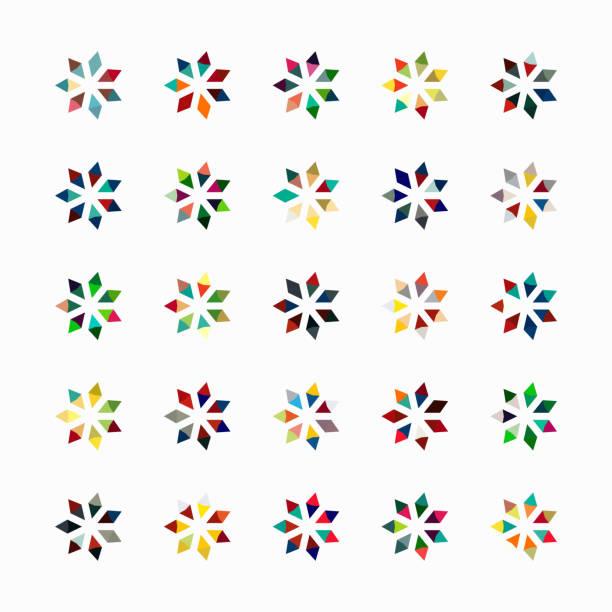 ilustrações de stock, clip art, desenhos animados e ícones de vector floral pattern symbol collection - mosaicos flores