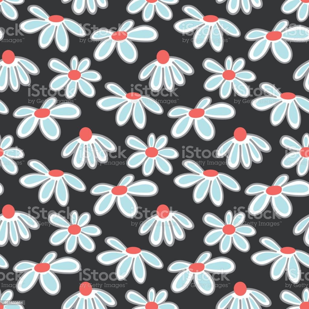 Vector floral pattern with cute daisies. vector art illustration