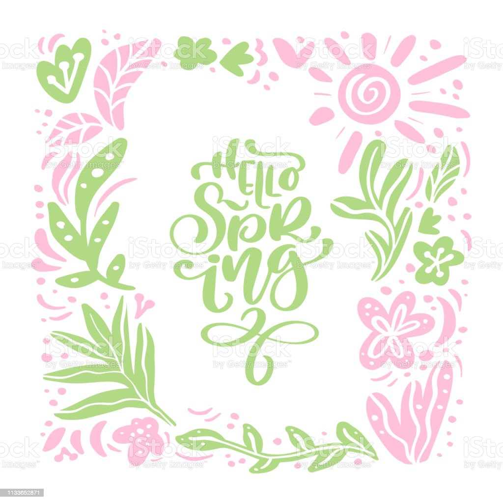 手書きのテキスト付きグリーティングカード用ベクターフローラルスカンジナビアフレームハロースプリング白い背景に平らなスカンジナビアのイラストを分離手描きの 自然デザイン いたずら書きのベクターアート素材や画像を多数ご用意 Istock
