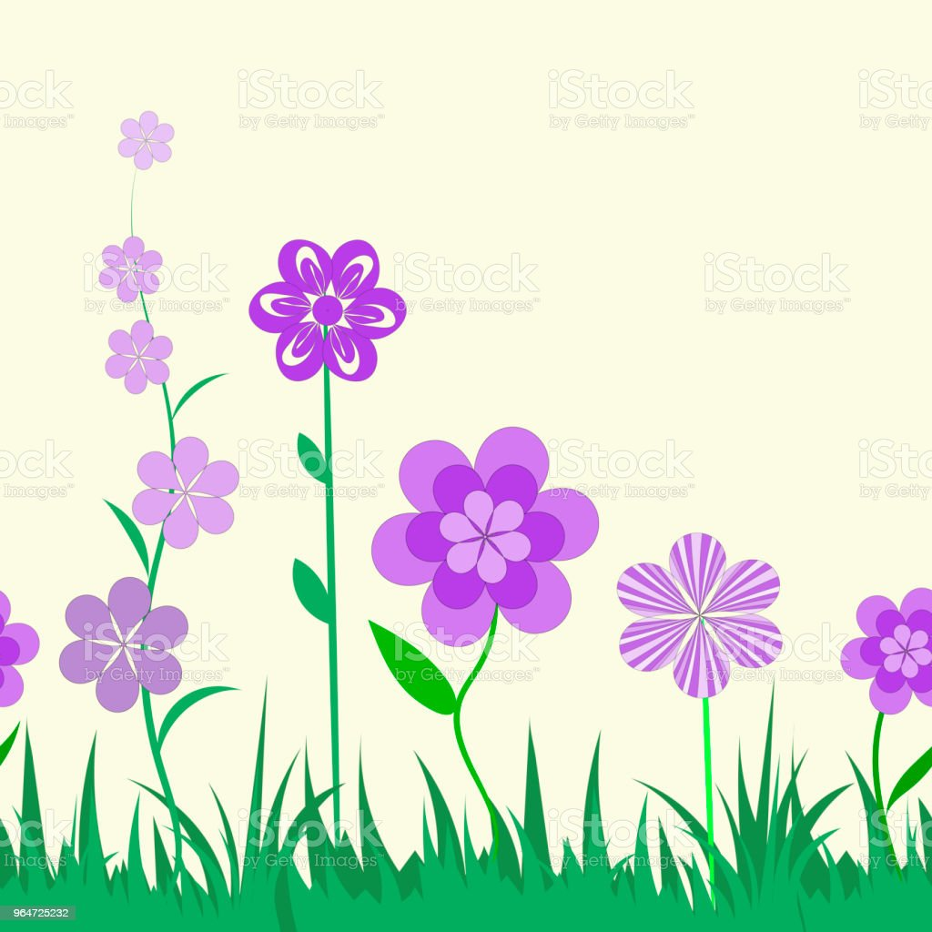 Vector floral seamless ornamental pattern horizontal orientation, drawing for children's wallpaper, decorative flowers on green grass. Yellow background. royalty-free vector floral seamless ornamental pattern horizontal orientation drawing for childrens wallpaper decorative flowers on green grass yellow background stock vector art & more images of abstract
