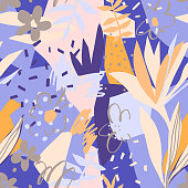 Vector floral seamless pattern. Plain flowers, petals, leaves with geometrical shape and doodle elements such as dots, scribbles and stripes. Colorful botanical background for textile and surface.