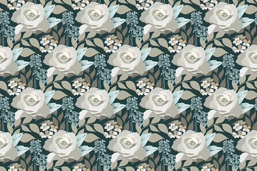Vector floral seamless pattern. Delicate pastel rose, small flowers, leaves isolated on dark forest green background.