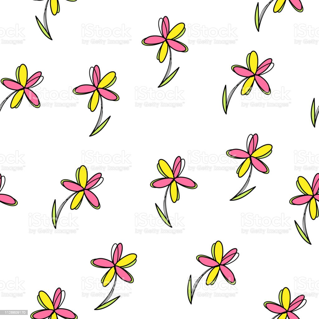 Vector floral seamless pattern. Doodle style