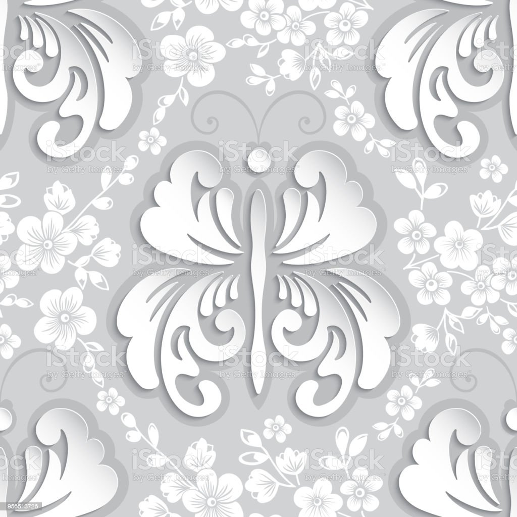 Vektorelement nahtlose Blumenmuster. Volumetrische Luxus floral Ornament, königliche nahtlose Textur für Tapeten, Textilien, Verpackung. Exquisite floral modernes Template mit Schmetterling. - Lizenzfrei Altertümlich Vektorgrafik