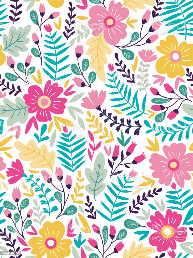 Vector Floral Seamless Pattern In Doodle Style With Flowers And