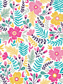 Vector floral seamless pattern in doodle style with flowers and leaves. Gentle, summer floral background.