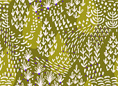 Vector floral seamless pattern with abstract flat botanical doodle elements such as plants, flowers, trees and grass. Nature background for textile, fabric, surface, wallpaper or wrapping.