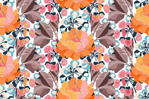 Vector floral seamless pattern. Pink, yellow, red, blue flowers and brown leaves isolated on white.