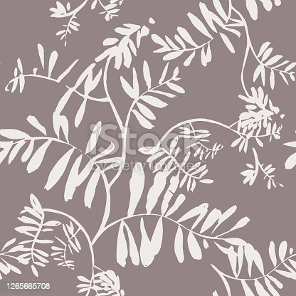 istock Vector floral seamless pattern. Silhouettes of wildflowers, branches and foliage. Bright botanical drawing. Background with flowers for wallpaper, textiles, fabric, clothes, souvenirs, wrapper, surface. 1265665708