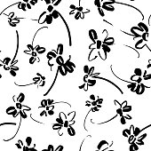 Vector floral seamless pattern. Botanical illustration with daisy flowers. B&W sketch made of marker in doodle style. Plane drawing, flower silhouettes. Good for fabric, textile, surface.