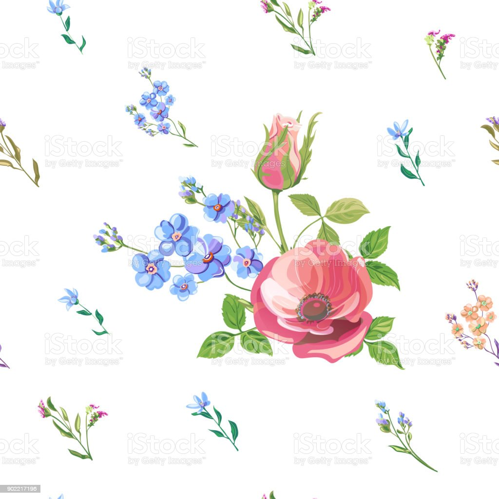 Vector floral seamless pattern with blue, pink, red flowers and buds: rose, poppy, forget-me-not, tweedia, stems and leaves on white background, digital draw, decorative illustration, vector vector art illustration