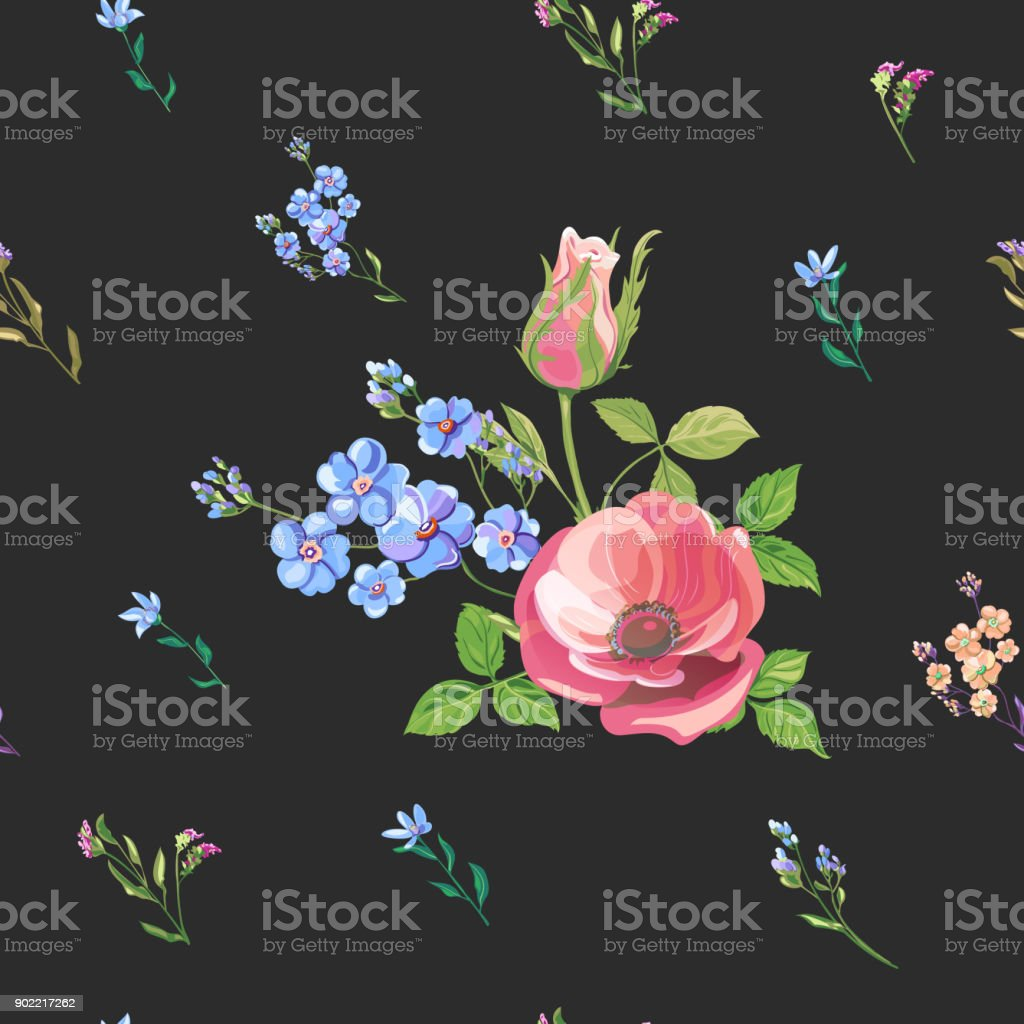 Vector floral seamless pattern with blue, pink, red flowers and buds: rose, poppy, forget-me-not, tweedia, stems and leaves on black background, digital draw, decorative illustration, vector vector art illustration