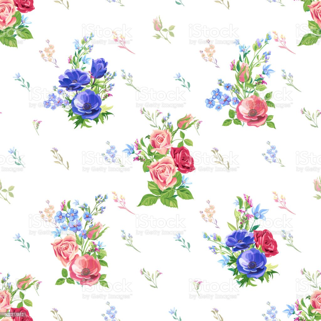Vector Floral Seamless Pattern With Blue Pink Red Flowers And Buds