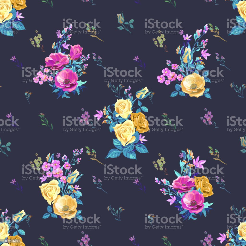 Vector floral seamless pattern with blue, pink, red flowers and buds: rose, poppy, forget-me-not, tweedia, stems and leaves on black background, digital draw, decorative illustration vector art illustration