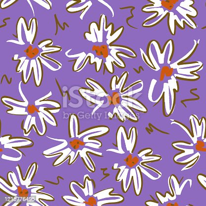 Vector floral seamless pattern. Simple colorful botanical illustration with daisy flowers. Plain sketch made of marker. Good for bedding, fabric, textile, wallpaper, wrapping, surface.