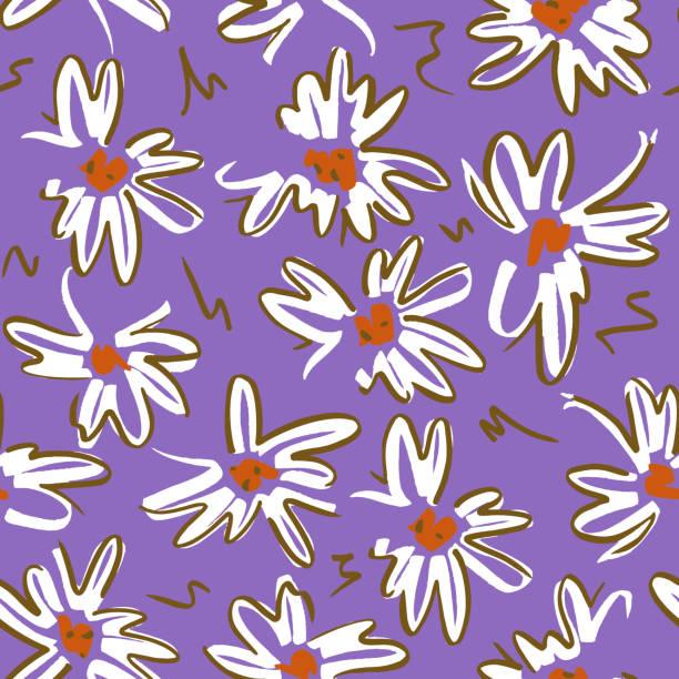 ilustrações de stock, clip art, desenhos animados e ícones de vector floral seamless pattern with daisies - natureza close up