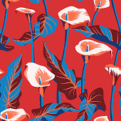 Vector floral seamless pattern with exotic calla flowers. Anthurium or flamingo flowers. Hawaiian, jungle plant pattern. Summer floral elements. Botanical illustration for textile, fabric and wrapping