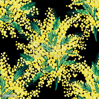 istock Vector floral seamless pattern with garden flowers. Bouquet made of mimosa flowers and greenery twigs. Bright botanical background. Spring nature ornament. Simple fashion retro style for fabric. 1256611206