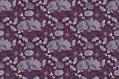 istock Vector floral seamless pattern with peony, chicory. 1308319162