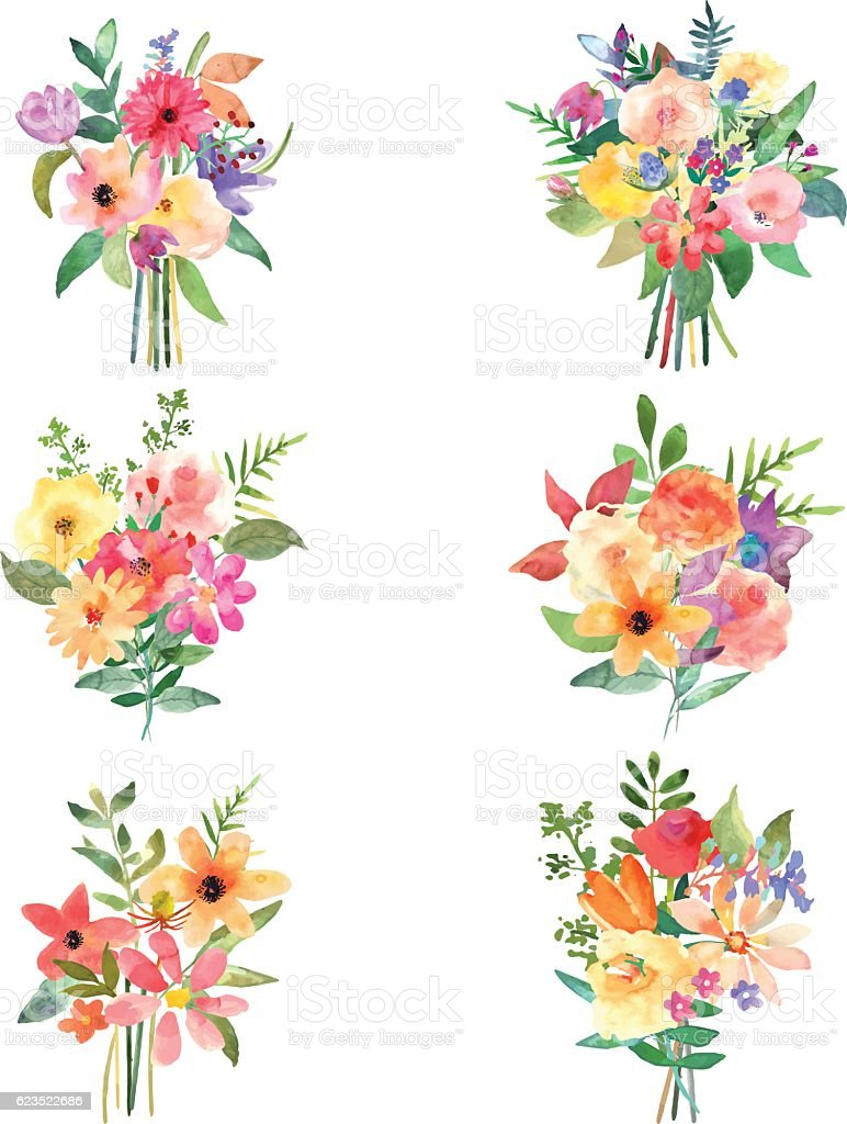 Vector floral set. Colorful collection with leafs and flowers.向量藝術插圖