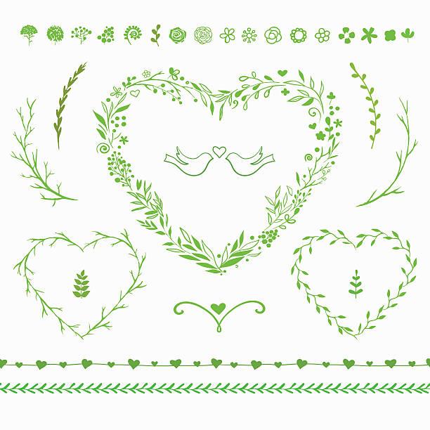 vektor blumen-set für den frühling dekoration - blumengirlanden stock-grafiken, -clipart, -cartoons und -symbole