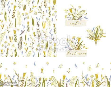 Vector hand drawn set of seamless floral pattern, bouquets badges and seamless floral border.