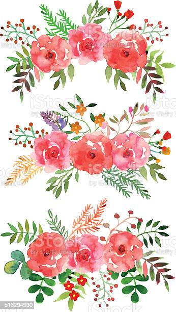 Vector floral set with watercolor flowers vector id513294930?b=1&k=6&m=513294930&s=612x612&h=fs1xn a6mdjrv4bzbuukbtudlndthxngx0duiububp0=