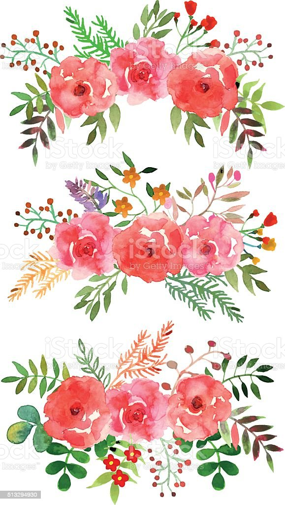 Vector floral set with watercolor flowers. vector art illustration