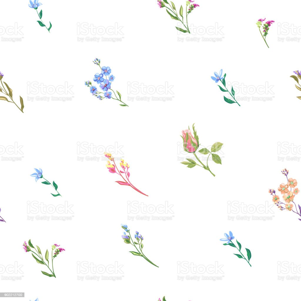 Vector floral square seamless pattern with blue, pink, red flowers and buds: rose, forget-me-not, tweedia, stems and leaves on white background, digital draw, decorative illustration, EPS 8 vector art illustration