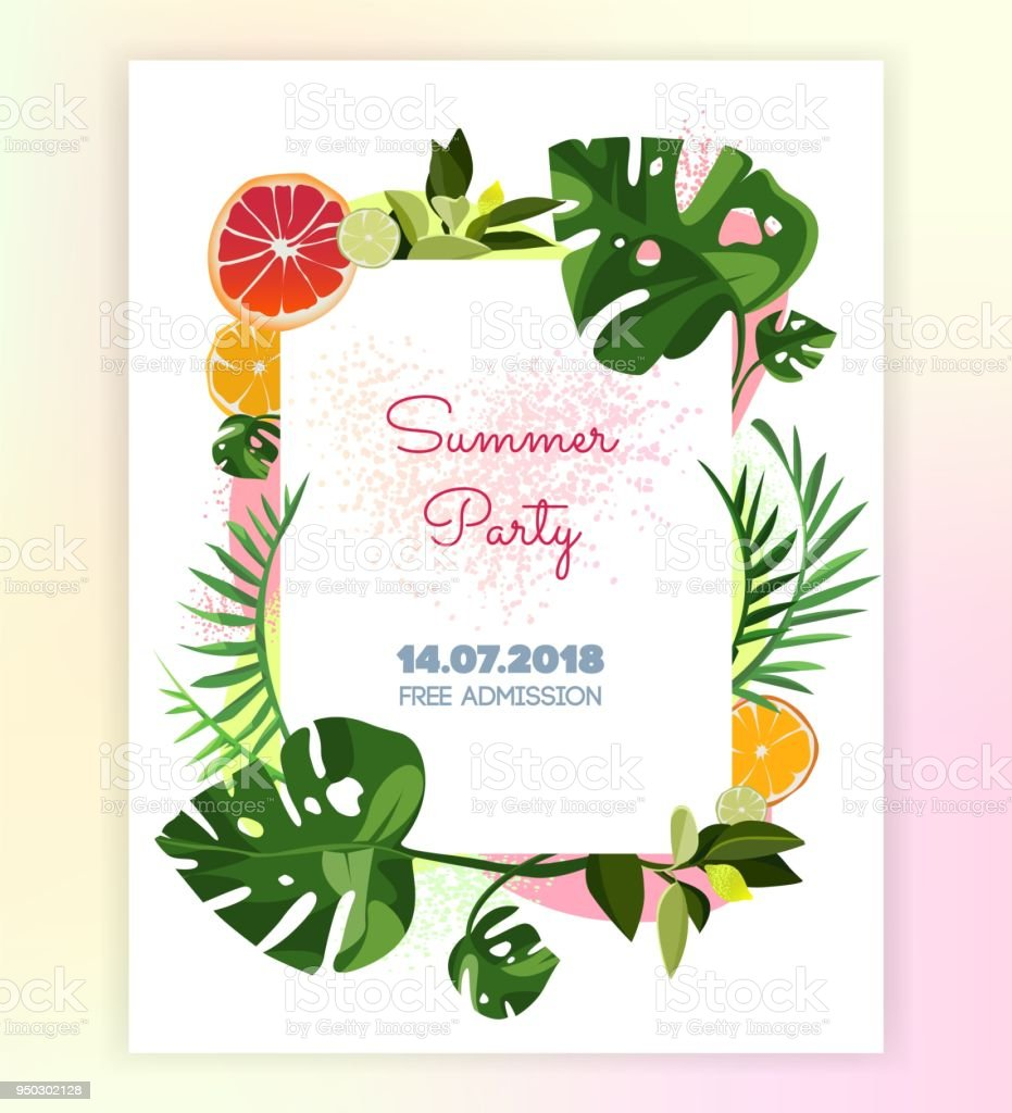 vector floral tropical invitation card template for print card stock