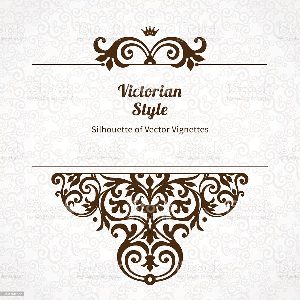 Vector floral vignette in Victorian style. vector art illustration