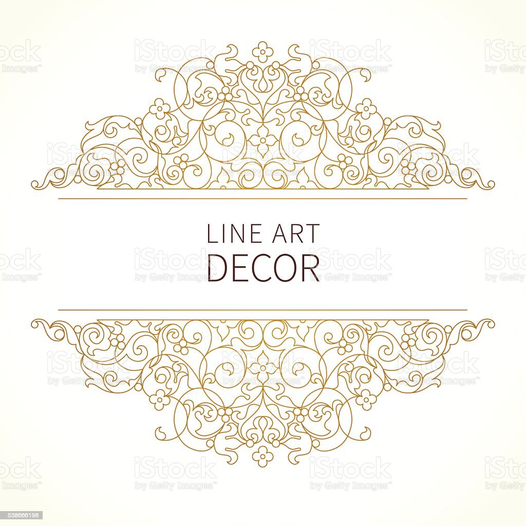 Vector floral vignettes in Eastern style. vector art illustration