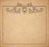 Vintage old paper texture with vector floral frame and medieval flowers, copy space realistic parchment page