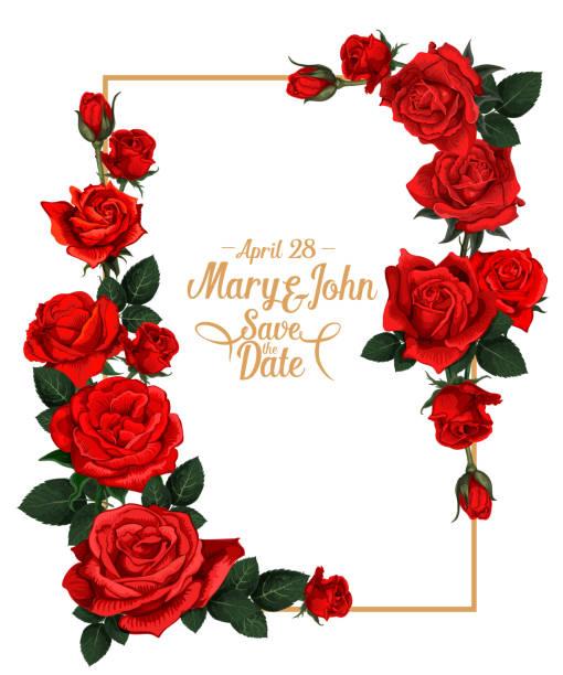 illustrazioni stock, clip art, cartoni animati e icone di tendenza di vector floral wedding picture frame - rosa rossa