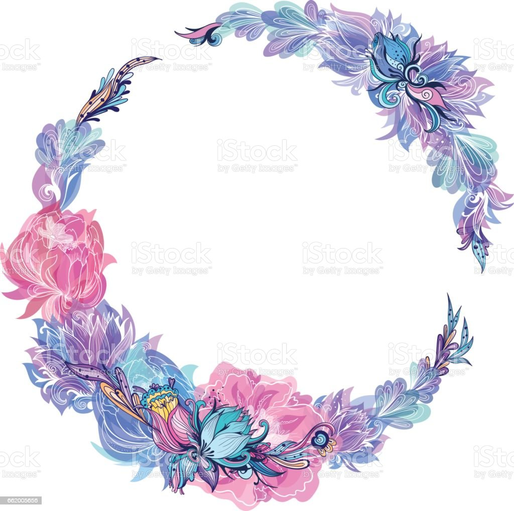 Vector Floral Wreath in Indigo and Pink vector art illustration