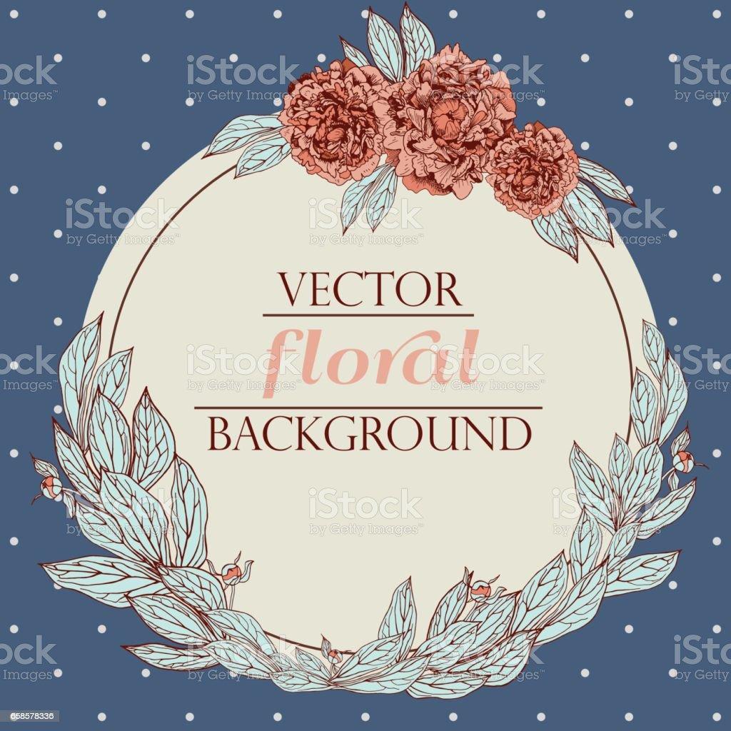 Vektorblumenkranz Vintage Pfingstrose Hintergrund Florale Elemente