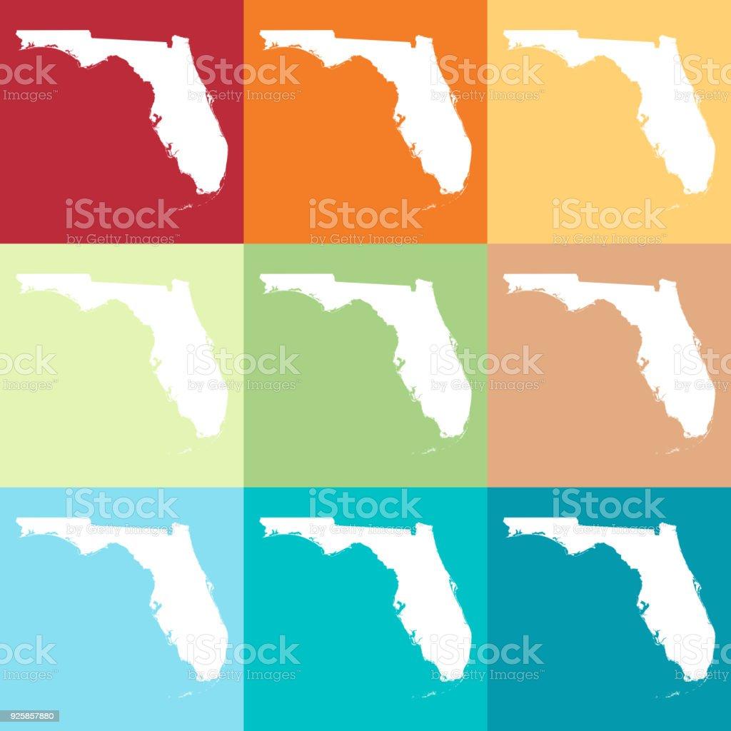 Florida Usa Map.Vector Florida Usa Map In Beachy Colors Stock Vector Art More