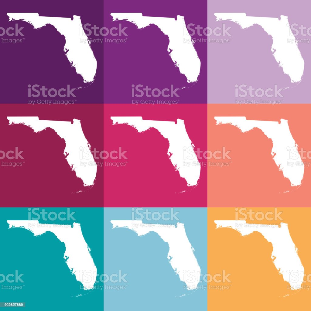Florida Usa Map.Vector Florida Usa Map In Muted Colors Stock Vector Art More