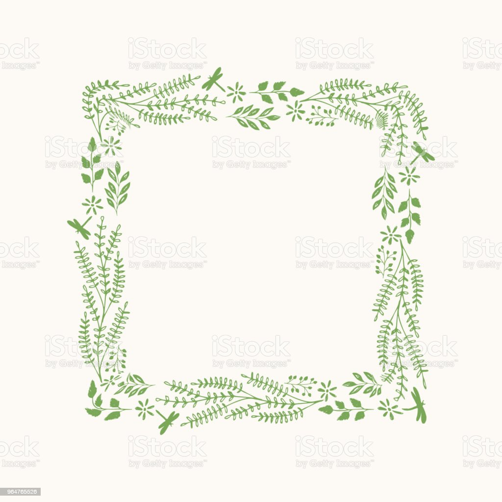 Vector flourish frame with herbs and leaves. royalty-free vector flourish frame with herbs and leaves stock vector art & more images of art